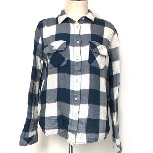 Levi's Blue and White Plaid Button Down